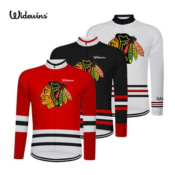 chicago blackhawks Quick Dry Breathable Cycling Jersey Long Sleeve Summer Men's Shirt Bicycle Tops Bike Cycling Clothing 8002B