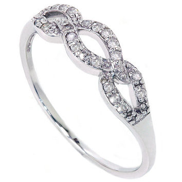 1/10CT Diamond Infinity Ring 10K White Gold (6-7-8)