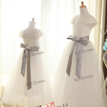 20% OFF!!! Cap Sleeves Ivory Tulle Satin Flower Girl Dress Children Birthday Party Dress Kids Dress with Grey Sash Detachable (Z1020)