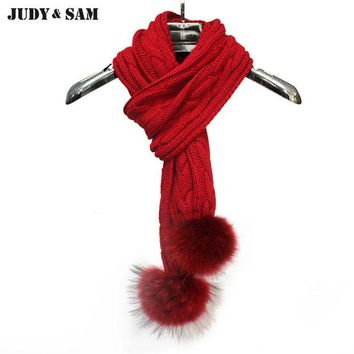 DKF4S Hotsale 2015 Gifts Women Knitting Infinity Long Scarf Muffler Scarves Real Raccoon Fur Pom Pom Brand Solid Color Men's Scarf