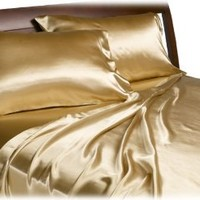 Divatex Home Fashions Royal Opulence Satin Queen Sheet Set, Gold
