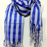 Sax Blue and White Men's and Women's Scarf - Sax Blue and White Scarf - Sax Blue and White Soft Cotton Scarf - KR1411061