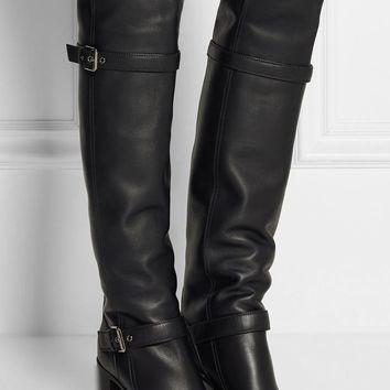 Fashion Online Fashion Winter Warm Faux Fur Women Knee High Boots Black Soft Leather Fashion New Female Thick Heel Tall Boots Shoes Plus Size