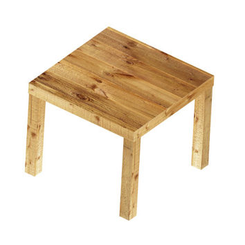 Ikea Lack Side Table Wrapped with a Pallet Wood Print