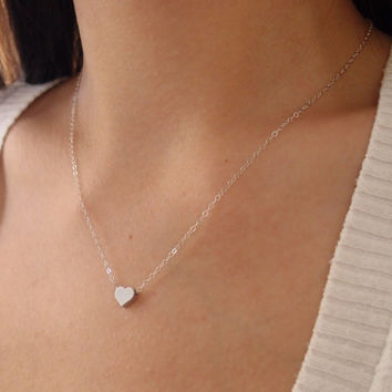 Silver Heart necklace - Tiny Matte Heart on Sterling Silver Chain - Simple Sweet Everyday Jewelry