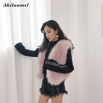 Winter Fashion Fox Fur Vest Pink Faux Fur Coat Veste Gilet Fourrure Fur Jacket Women'S Coats Manteau Fourrure Femme Waistcoat