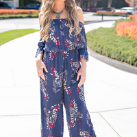 Casablanca Off The Shoulder Cinched Sleeve And Waist Wide Leg Floral Jumpsuit (Violet)