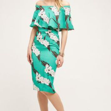 Tracy Reese Lily Off-The-Shoulder Dress in Green Motif Size: