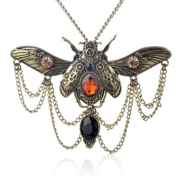 Retro punk necklaces animal insect beetle pendant necklace steampunk jewelry for men women ancient Copper statement jewelry