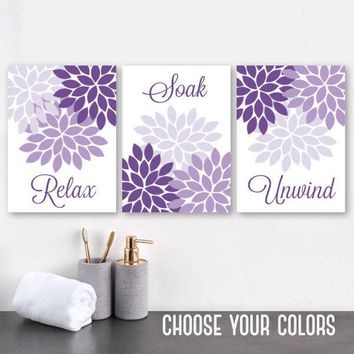 Purple Flower Bathroom Wall Art, Purple Flower BATHROOM Decor, CANVAS or Prints, Relax Soak Unwind Quote, Purple Bathroom Quotes, Set of 3