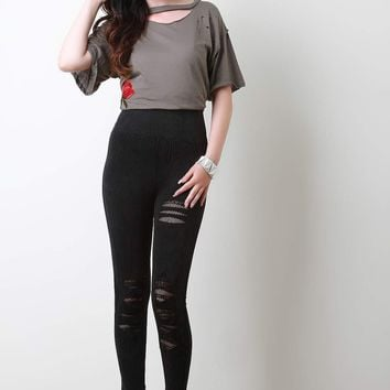 Mineral Wash Distressed Fishnet Insert Leggings