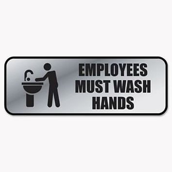 COSCO COS-098205 Brushed Metal Office Sign, Employees Must Wash Hands, 9 x 3, Silver-1 count