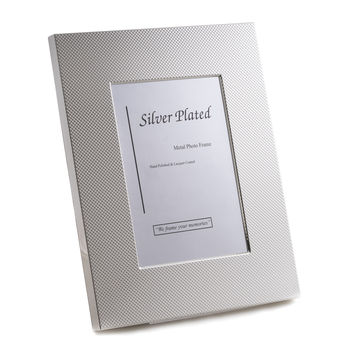 "Silver Plated with Checkered Design 8""x10"" Picture Frame with Easel Back."