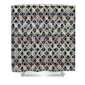 New Custom Made Design- Diamond Abstract Pattern - Shower Curtain matching bedding