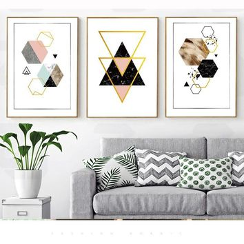 SURE LIFE Modern Abstract Geometry Gold Letters Canvas Paintings Kitchen Posters Prints Wall Art Pictures For Living Room Decor