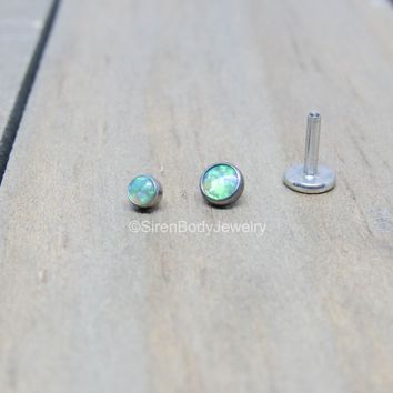 Green opal flat back earring 16g titanium internally threaded ear helix tragus conch lip piercing stud hypoallergenic nickel free