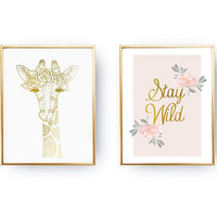 Set Of 2 Prints, Stay Wild Print, Giraffe Floral Wreath, Home Decor, Gold Foil Print, Boho Poster, Teen Girl Bedroom, Vintage Wall Decor