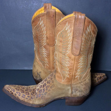Old Gringo Leopard Brown Leather Western Cowgirl Cowboy Boots Women's Size 6.5