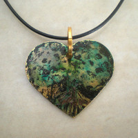 Heart Necklace: Tree Jewelry - Unique Jewelry - Hand Painted Jewelry - Spring Jewelry - Spring Fashion - Spring Colors