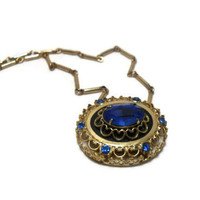 Blue Glass and Goldtone Necklace