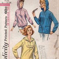 Retro Hoodie 1960s Simplicity Sewing Pattern Women's Hooded Jacket Coat Raincoat Pullover Parka Uncut FF Bust 34 36