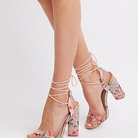 Floral Lace-Up Two-Piece Sandals | Charlotte Russe