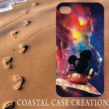 Apple iPhone 4 4G 4S 5G Hard Plastic Cell Phone Case Cover Original Trendy Stylish Mickey Mouse Fly Carpet Galaxy Design