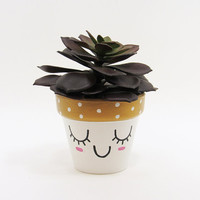 Succulent Planter, Terracotta Pot, Cute Face Planter, Gold Planter, Air Plant Holder, Plant Pot, Flower Pot, Indoor Planter, Mini Planter