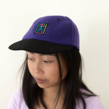 90s purple felt hat, vtg colorful baseball cap, 1990s accessories, art hoe, soft grunge, american apparel tumblr, kawaii vaporwave aesthetic