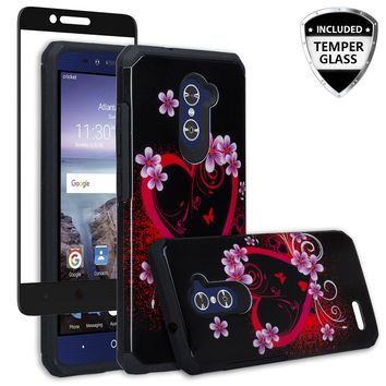 ZTE ZMAX Pro Case, ZTE Blade X Max, ZTE Carry, [Include Temper Glass Screen Protector] Slim Hybrid Dual Layer Armor[Shock Absorbent] Case for ZMAX Pro - Flower Hearts