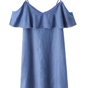 Blue V-neck Cold Shoulder Ruffle Overlay Denim Shift Dress