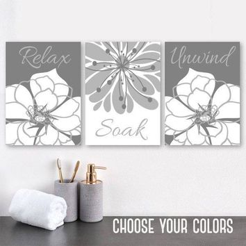 GRAY Flower BATHROOM Wall Art, Bathroom Quote Canvas or Prints Flower Bathroom Wall Decor, Relax Soak Unwind Quote Pictures, Set of 3
