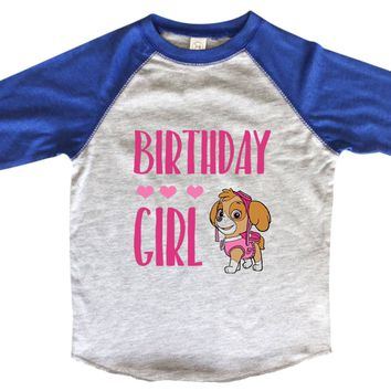 Birthday Girl BOYS OR GIRLS BASEBALL 3/4 SLEEVE RAGLAN - VERY SOFT TRENDY SHIRT B958