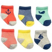 Baby Infant Boys 6 Pack of Nautical Socks by Carters