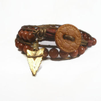 Brown Beaded Leather Wrap Bracelet With Arrow Charm CIJ