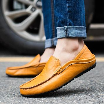Men Shoes Genuine Cow Leather Moccasin Loafers Designer Slip On Flat Loafers Boat Shoes Male Footwear Chaussure Homme Size 39-47