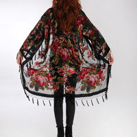Black Kimono Gypsy , Silk Burnout Women Boho Fringe Floral Kimono Cardigan Tassels Cover Up Cape Jacket black Gifts for Her
