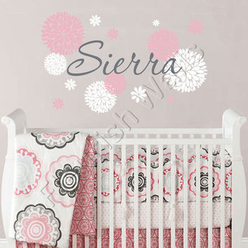 Baby Girl Name With Dahlia Flowers Wall Decal For Girls Nursery Or Teens Bedroom Personalized Vinyl Wall Decor 22H x 36W GN062