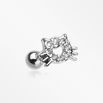 Adorable Kitty Cat Face Sparkle Cartilage Tragus Barbell