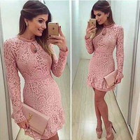 Casual Lace Dress O-Neck Sleeve Pink Evening Party Dresses