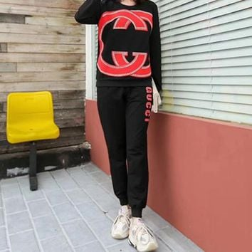 """""""Gucci""""Woman's Leisure Fashion Letter Drill Printing  Long Sleeve Trousers Two-Piece Set Casual Wear"""