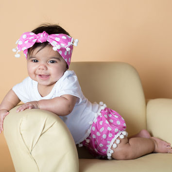 Bubblegum Pink Polka Dot Pom Pom Shirt & Bubble Shorts Set
