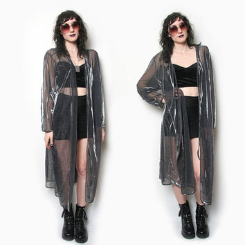 90s Silver and Black Sheer Maxi Dress Duster // Iridescent Silver Maxi Shawl // Sheer Cloak // Silver Sheer Duster // Goth Maxi