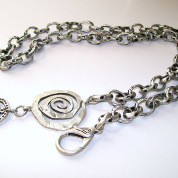 Industrial Necklace, Chunky Chain, Antiqued Silver Necklace, Large Link Chain, Metal Swirl Charm Statement PieceSilver and Black