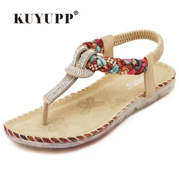 KUYUPP Bohemian Ladies Thong Sandals Diamond Beads Slippers Ankle Slingback Flats Flip