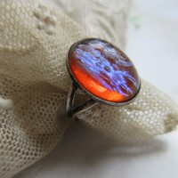 Vintage Sterling Dragon's Breath Ring