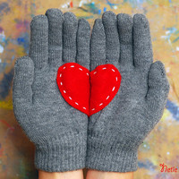 My heart is for you - gloves in grey