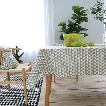 Geometric Modern Style Table Cloth Cotton Linen Tablecloths Rectangle Kitchen Coffee Table Cover 7 Sizes Available