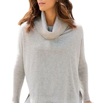 Chicloth Gray Turtleneck Fringe Hemline Tunic Sweater