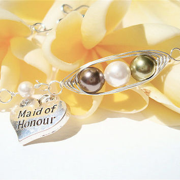 Maid of Honor - Personalized Bracelet - 2 peas in a pod with heart charm - wedding jewelry - MOH
